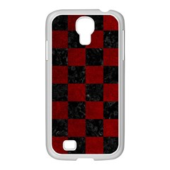 Square1 Black Marble & Red Grunge Samsung Galaxy S4 I9500/ I9505 Case (white) by trendistuff