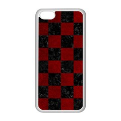 Square1 Black Marble & Red Grunge Apple Iphone 5c Seamless Case (white) by trendistuff