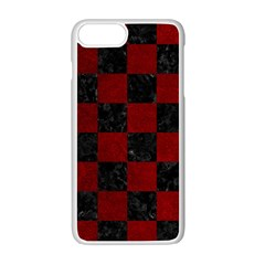 Square1 Black Marble & Red Grunge Apple Iphone 7 Plus White Seamless Case by trendistuff