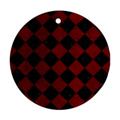 Square2 Black Marble & Red Grunge Round Ornament (two Sides) by trendistuff