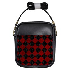 Square2 Black Marble & Red Grunge Girls Sling Bags by trendistuff