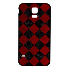 Square2 Black Marble & Red Grunge Samsung Galaxy S5 Back Case (white) by trendistuff