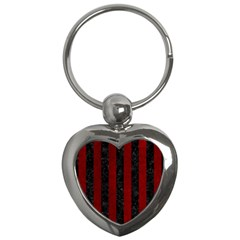 Stripes1 Black Marble & Red Grunge Key Chains (heart)  by trendistuff