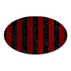 Stripes1 Black Marble & Red Grunge Oval Magnet by trendistuff