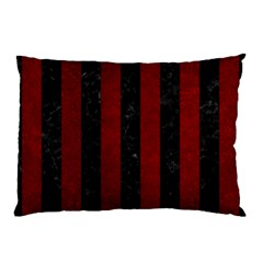 Stripes1 Black Marble & Red Grunge Pillow Case by trendistuff