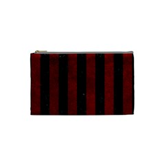 Stripes1 Black Marble & Red Grunge Cosmetic Bag (small)  by trendistuff