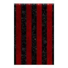 Stripes1 Black Marble & Red Grunge Shower Curtain 48  X 72  (small)  by trendistuff
