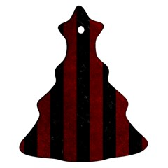 Stripes1 Black Marble & Red Grunge Ornament (christmas Tree)  by trendistuff