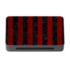 Stripes1 Black Marble & Red Grunge Memory Card Reader With Cf by trendistuff