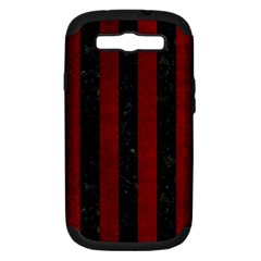 Stripes1 Black Marble & Red Grunge Samsung Galaxy S Iii Hardshell Case (pc+silicone) by trendistuff