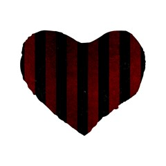 Stripes1 Black Marble & Red Grunge Standard 16  Premium Flano Heart Shape Cushions by trendistuff