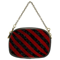 Stripes3 Black Marble & Red Grunge Chain Purses (two Sides)
