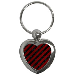 Stripes3 Black Marble & Red Grunge (r) Key Chains (heart)  by trendistuff