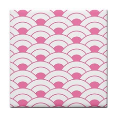 Art Deco Shell Pink White Tile Coasters by 8fugoso