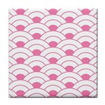 art deco shell pink white Tile Coasters Front