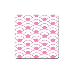 Art Deco Shell Pink White Square Magnet by 8fugoso