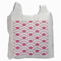 Art Deco Shell Pink White Recycle Bag (two Side)  by 8fugoso