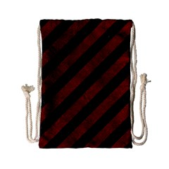 Stripes3 Black Marble & Red Grunge (r) Drawstring Bag (small)