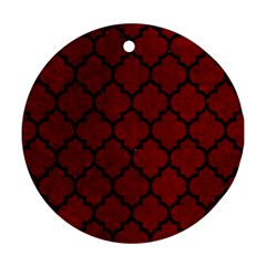 Tile1 Black Marble & Red Grunge Ornament (round) by trendistuff