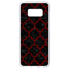 Tile1 Black Marble & Red Grunge (r) Samsung Galaxy S8 White Seamless Case