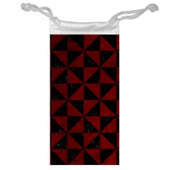 Triangle1 Black Marble & Red Grunge Jewelry Bag by trendistuff