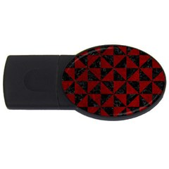 Triangle1 Black Marble & Red Grunge Usb Flash Drive Oval (4 Gb) by trendistuff