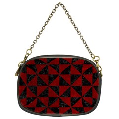 Triangle1 Black Marble & Red Grunge Chain Purses (two Sides)