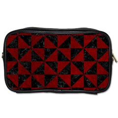 Triangle1 Black Marble & Red Grunge Toiletries Bags 2 Side by trendistuff