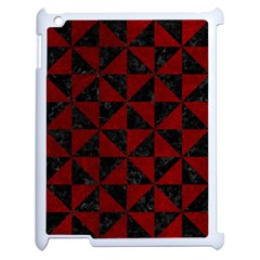 Triangle1 Black Marble & Red Grunge Apple Ipad 2 Case (white) by trendistuff