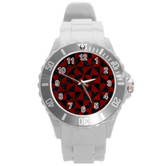 Triangle1 Black Marble & Red Grunge Round Plastic Sport Watch (l) by trendistuff