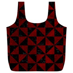 Triangle1 Black Marble & Red Grunge Full Print Recycle Bags (l)  by trendistuff