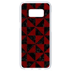 Triangle1 Black Marble & Red Grunge Samsung Galaxy S8 White Seamless Case by trendistuff