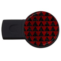 Triangle2 Black Marble & Red Grunge Usb Flash Drive Round (2 Gb) by trendistuff