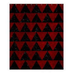 Triangle2 Black Marble & Red Grunge Shower Curtain 60  X 72  (medium)  by trendistuff