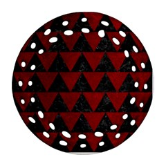Triangle2 Black Marble & Red Grunge Ornament (round Filigree) by trendistuff