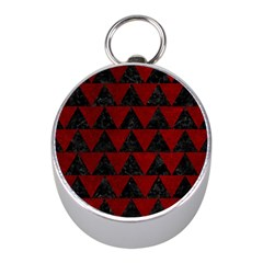 Triangle2 Black Marble & Red Grunge Mini Silver Compasses by trendistuff