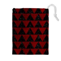 Triangle2 Black Marble & Red Grunge Drawstring Pouches (extra Large)