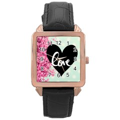 Modern Collage Shabby Chic Rose Gold Leather Watch  by 8fugoso