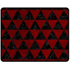 Triangle3 Black Marble & Red Grunge Double Sided Fleece Blanket (medium)  by trendistuff