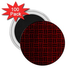 Woven1 Black Marble & Red Grunge 2 25  Magnets (100 Pack)  by trendistuff