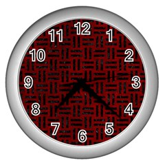 Woven1 Black Marble & Red Grunge Wall Clocks (silver)  by trendistuff
