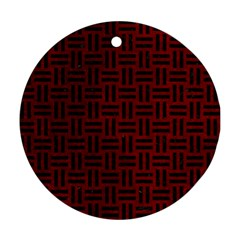 Woven1 Black Marble & Red Grunge Round Ornament (two Sides) by trendistuff