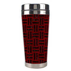 Woven1 Black Marble & Red Grunge Stainless Steel Travel Tumblers by trendistuff