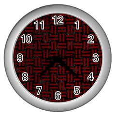 Woven1 Black Marble & Red Grunge (r) Wall Clocks (silver)  by trendistuff