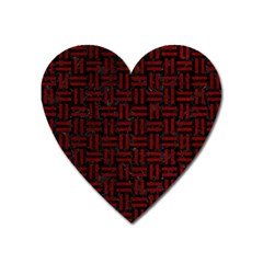 Woven1 Black Marble & Red Grunge (r) Heart Magnet by trendistuff