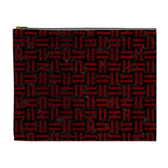 Woven1 Black Marble & Red Grunge (r) Cosmetic Bag (xl) by trendistuff