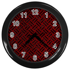 Woven2 Black Marble & Red Grunge Wall Clocks (black) by trendistuff