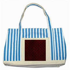 Woven2 Black Marble & Red Grunge Striped Blue Tote Bag by trendistuff