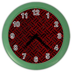 Woven2 Black Marble & Red Grunge Color Wall Clocks by trendistuff