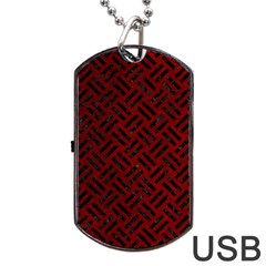 Woven2 Black Marble & Red Grunge Dog Tag Usb Flash (one Side) by trendistuff